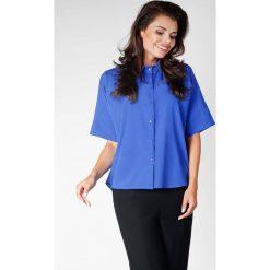 Chabrowa Oversizowa Koszula z Szerokim Rękawem do Łokcia. Niebieskie koszule damskie marki Molly.pl, l, casualowe, z dekoltem na plecach, z krótkim rękawem. W wyprzedaży za 119,88 zł.