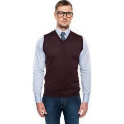 Sweter veneto w serek bordo. Czerwone swetry klasyczne męskie Recman, m, z aplikacjami, z dekoltem w serek. Za 109,00 zł.