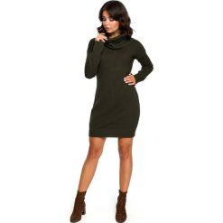 Khaki Długi Sweter- Sukienka z Szerokim Golfem. Brązowe długie sukienki marki Molly.pl, uniwersalny, ze splotem, eleganckie, z golfem, z długim rękawem, proste. Za 115,90 zł.