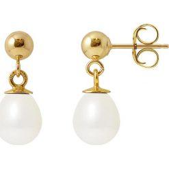 Kolczyki damskie: Złote kolczyki-wkrętki z perłami słodkowodnymi