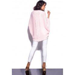 Bolerka i narzutki damskie: Kobiecy sweterek narzutka pudrowy róż