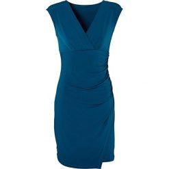 Sukienka z dżerseju bonprix niebieskozielony morski. Zielone sukienki z falbanami marki bonprix, w kropki, z kopertowym dekoltem, kopertowe. Za 89,99 zł.