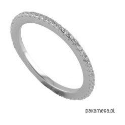 Obrączki: Srebrny pierścionek obrączka z cyrkoniami