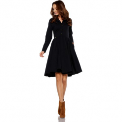 Sukienka z koła z dekoltem V czarny. Czarne długie sukienki Lemoniade, z bawełny, z długim rękawem. Za 169,90 zł.