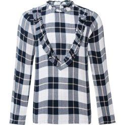 Bluza w kratę z falbanami bonprix ciemnoniebieski w kratę. Niebieskie bluzy damskie bonprix. Za 59,99 zł.