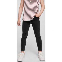 Mango Kids - Jeansy dziecięce Loran 104-164 cm. Szare rurki dziewczęce Mango Kids, z aplikacjami, z bawełny, z podwyższonym stanem. Za 89,90 zł.