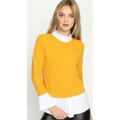 Żółta Bluzka Elizabethan Pearls. Żółte bluzki longsleeves marki Mohito, l, z dzianiny. Za 54,99 zł.