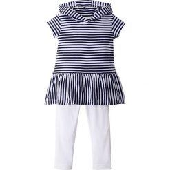 Sukienki dziewczęce: Sukienka z kapturem + legginsy (2 części) bonprix czarny w paski – biały