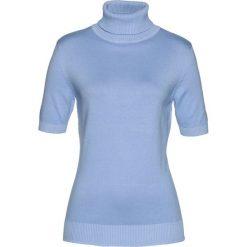 Golfy damskie: Sweter z golfem, krótki rękaw bonprix perłowy niebieski