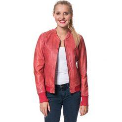 """Bomberki damskie: Skórzana kurtka """"Bomber"""" w kolorze czerwonym"""