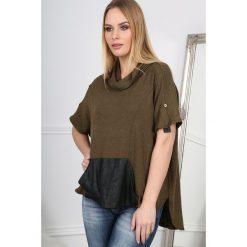 Khaki T-shirt z Golfem  BB20661. Brązowe t-shirty damskie Fasardi, z golfem. Za 29,90 zł.