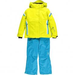 2-częściowy zestaw narciarski w kolorze jaskrawożółto-niebieskim. Niebieskie kurtki dziewczęce przeciwdeszczowe CMP Kids, z haftami, z materiału. W wyprzedaży za 325,95 zł.