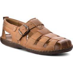 Sandały męskie skórzane: Sandały LASOCKI FOR MEN – MI08-448-51-01 Camel