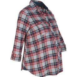Bluzka ciążowa, z flaneli bawełnianej w kratę bonprix bordowo-ciemnoniebieski w kratę. Czerwone bluzki ciążowe bonprix, z bawełny, moda ciążowa, z długim rękawem. Za 89,99 zł.