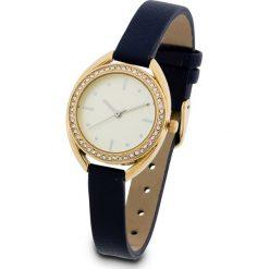 Zegarek na rękę bonprix nocny niebieski - złoty kolor. Niebieskie zegarki damskie bonprix, złote. Za 89,99 zł.