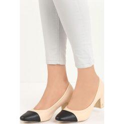Beżowe Czółenka Giga. Brązowe buty ślubne damskie Born2be, ze skóry, na niskim obcasie, na słupku. Za 59,99 zł.