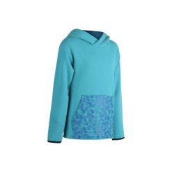 Bluza ciepła z kapturem. Szare bluzy dziewczęce rozpinane marki DOMYOS, z elastanu, z kapturem. W wyprzedaży za 29,99 zł.