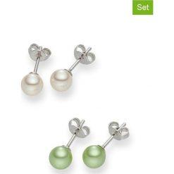 Kolczyki damskie: Kolczyki-wkrętki z perłami (2 pary)
