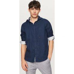 Odzież męska: Lniana koszula z kapturem – Granatowy