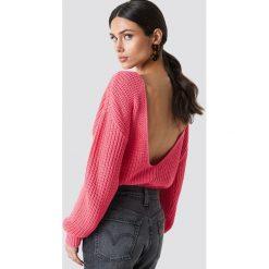 Glamorous Sweter z odkrytymi plecami - Pink. Różowe swetry klasyczne damskie marki Glamorous, z nadrukiem, z asymetrycznym kołnierzem, asymetryczne. Za 141,95 zł.