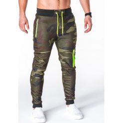 SPODNIE MĘSKIE DRESOWE P658 - ZIELONE/MORO. Zielone spodnie dresowe męskie Ombre Clothing, moro, z bawełny. Za 48,00 zł.