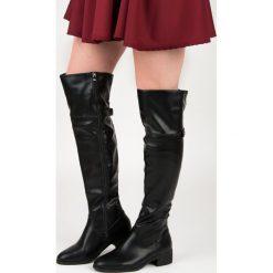 Buty zimowe damskie: Czarne kozaki nad kolano ANGELICA