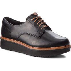 Oxfordy CLARKS - Teadale Rhea 261284394 Black Leather. Czarne jazzówki damskie marki Clarks, ze skóry, na płaskiej podeszwie. W wyprzedaży za 229,00 zł.