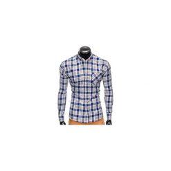 KOSZULA MĘSKA W KRATĘ Z DŁUGIM RĘKAWEM K393 - NIEBIESKA/SZARA. Brązowe koszule męskie na spinki marki Ombre Clothing, m, z aplikacjami, z kontrastowym kołnierzykiem, z długim rękawem. Za 49,00 zł.