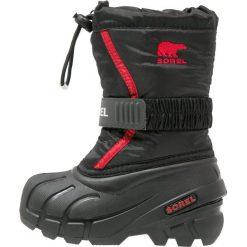 Sorel FLURRY Śniegowce black/bright red. Czarne buty zimowe chłopięce Sorel, z materiału. Za 229,00 zł.