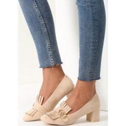 Buty ślubne damskie: Beżowe Czółenka Paisley