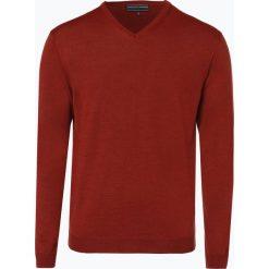 Finshley & Harding - Sweter męski z dodatkiem wełny merino, pomarańczowy. Czarne swetry klasyczne męskie marki Finshley & Harding, w kratkę. Za 129,95 zł.