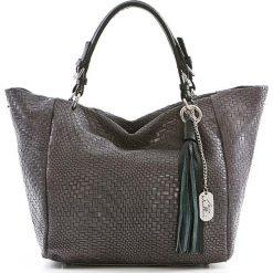 Shopper bag damskie: Skórzany shopper bag w kolorze ciemnoszarym - 42 x 30 x 20 cm
