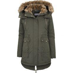 Płaszcze damskie: Urban Classics Ladies Imitation Fur Parka Płaszcz damski oliwkowy