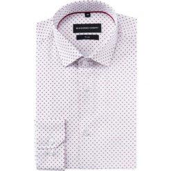 Koszula SIMONE slim KDBS000426. Białe koszule męskie na spinki Giacomo Conti, m, w geometryczne wzory, z bawełny, z klasycznym kołnierzykiem. Za 199,00 zł.