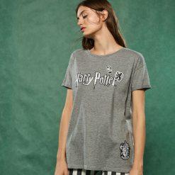 T-shirt z nadrukiem Harry Potter - Szary. Szare t-shirty damskie Sinsay, l, z nadrukiem. Za 39,99 zł.