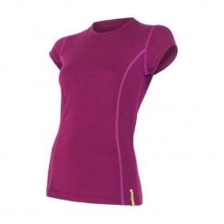 Sensor Koszulka Termoaktywna Merino Wool Active W Lilla L. Czerwone bluzki sportowe damskie Sensor, l, z materiału, z krótkim rękawem. Za 195,00 zł.