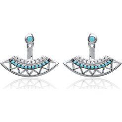 Kolczyki damskie: Srebrne kolczyki-wkrętki z ozdobnymi kamyczkami