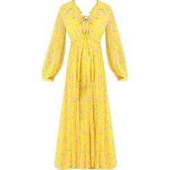 Topshop SUNSHINE VACA DRESS Długa sukienka yellow. Żółte długie sukienki marki Topshop, z materiału, z długim rękawem. Za 369,00 zł.