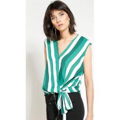 Bluzki asymetryczne: Zielona Bluzka Perfect Stripes