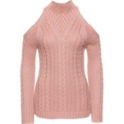 Sweter bonprix jasnoróżowy. Czerwone swetry klasyczne damskie marki bonprix, ze stójką. Za 89,99 zł.