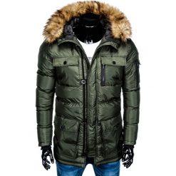 KURTKA MĘSKA ZIMOWA PARKA C355 - KHAKI. Brązowe kurtki męskie zimowe Ombre Clothing, m, z poliesteru. Za 127,20 zł.