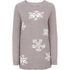 Sweter bonprix jasnoszary melanż. Niebieskie swetry klasyczne damskie marki bonprix, z nadrukiem. Za 59,99 zł.