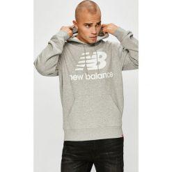 New Balance - Bluza. Szare bluzy męskie rozpinane New Balance, l, z nadrukiem, z bawełny, z kapturem. Za 299,90 zł.