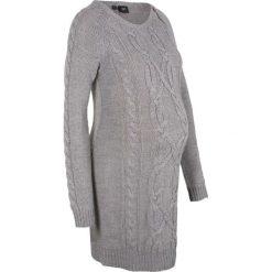 Sukienka dzianinowa ciążowa bonprix szary melanż. Szare sukienki ciążowe marki bonprix, na zimę, melanż, z dzianiny, z okrągłym kołnierzem, moda ciążowa, z długim rękawem. Za 99,99 zł.