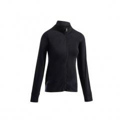 Bluza na zamek z kapturem Gym & Pilates 100 damska. Czarne bluzy rozpinane damskie marki DOMYOS, xl, z bawełny, z kapturem. Za 54,99 zł.