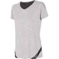Koszulka treningowa damska TSDF109 - szary melanż. Szare bluzki oversize 4f, melanż, z dzianiny, z dekoltem na plecach. Za 59,99 zł.