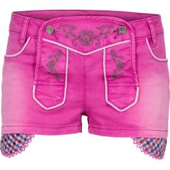 """Krótkie spodenki ludowe bonprix fuksja """"used"""". Fioletowe bermudy damskie bonprix, z jeansu. Za 59,99 zł."""