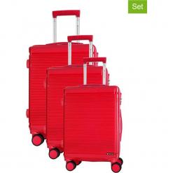 Zestaw walizek w kolorze fuksji - 3 szt. Czerwone walizki Platinium, z materiału. W wyprzedaży za 699,95 zł.