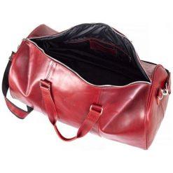 CORTEZ Czerwona męska torba ze skóry Podróżna smooth leather. Czerwone torby na ramię męskie marki Brødrene, ze skóry, duże. Za 750,00 zł.