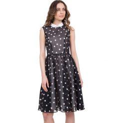 Sukienki hiszpanki: Czarno-biała rozkloszowana sukienka w groszki BIALCON